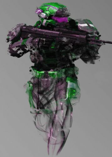 GAMES - HALO SPARTAN SKETCH ART GREEN canvas print - self adhesive poster - photo print